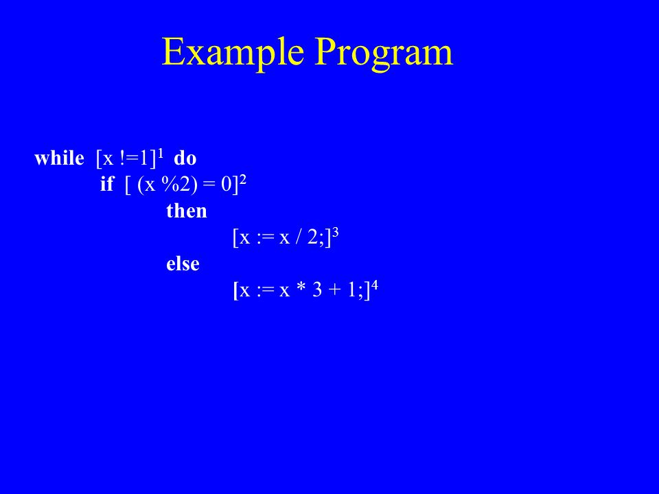 Example Program while [x !=1] 1 do if [ (x %2) = 0] 2 then [x := x / 2;] 3 else [x := x * 3 + 1;] 4