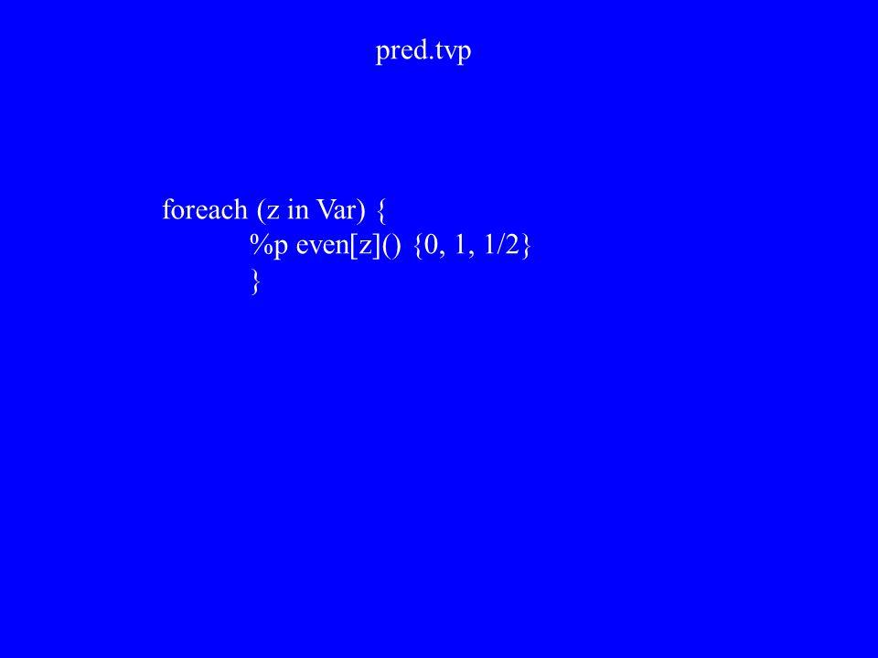foreach (z in Var) { %p even[z]() {0, 1, 1/2} } pred.tvp