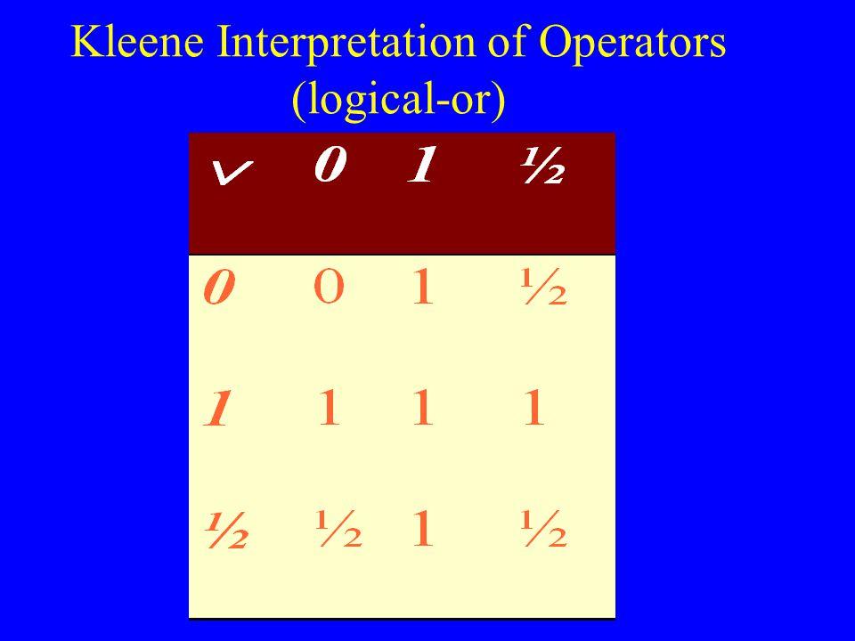 Kleene Interpretation of Operators (logical-or)