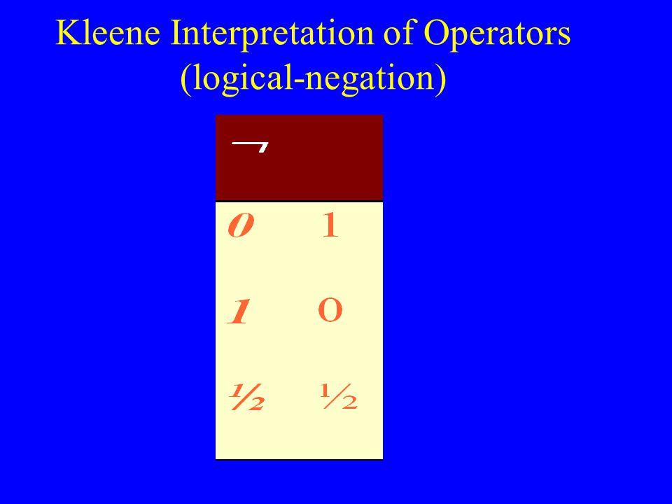 Kleene Interpretation of Operators (logical-negation)