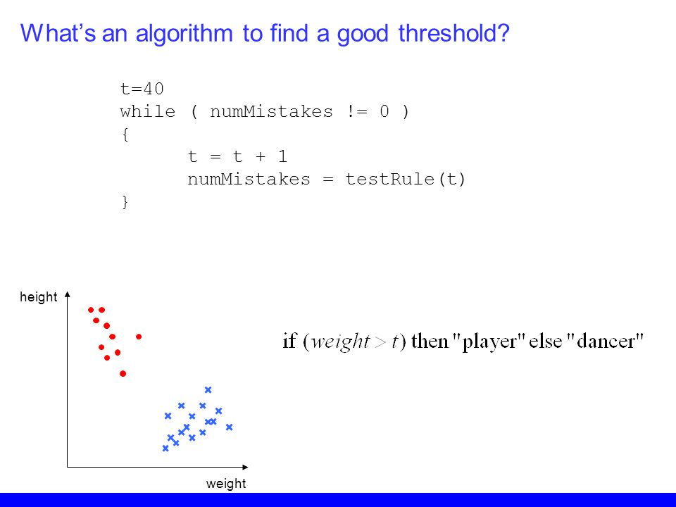 What's an algorithm to find a good threshold? height weight t=40 while ( numMistakes != 0 ) { t = t + 1 numMistakes = testRule(t) }