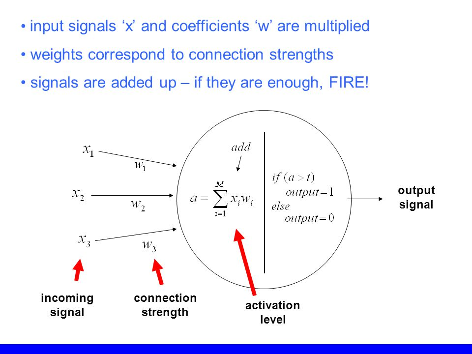 input signals 'x' and coefficients 'w' are multiplied weights correspond to connection strengths signals are added up – if they are enough, FIRE! inco