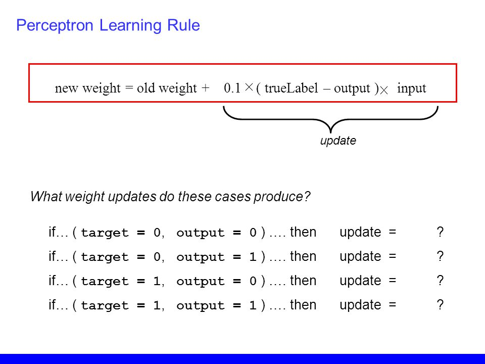 Perceptron Learning Rule new weight = old weight + 0.1 ( trueLabel – output ) input if… ( target = 0, output = 0 ) …. thenupdate =? if… ( target = 0,