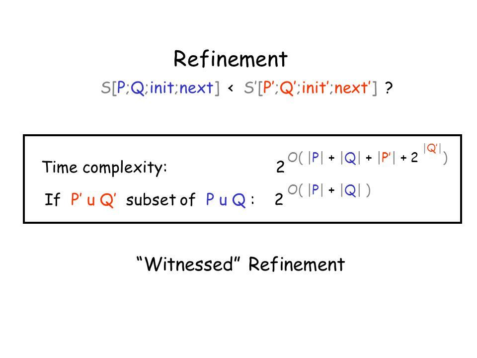 Refinement S[P;Q;init;next] < S'[P';Q';init';next'] .