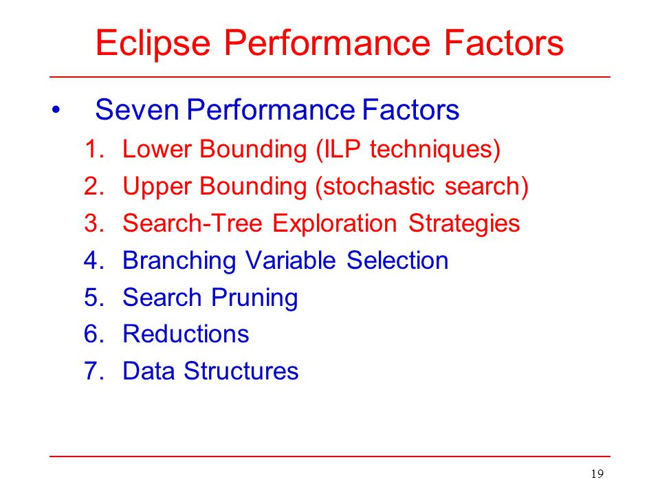 19 Seven Performance Factors 1.Lower Bounding (ILP techniques) 2.Upper Bounding(stochastic search) 3.Search-Tree Exploration Strategies 4.Branching Va