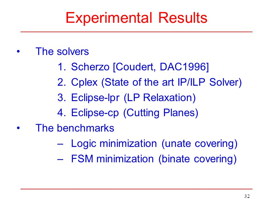 32 Experimental Results The solvers 1.Scherzo [Coudert, DAC1996] 2.Cplex (State of the art IP/ILP Solver) 3.Eclipse-lpr (LP Relaxation) 4.Eclipse-cp (