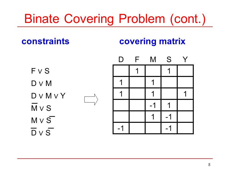 8 constraintscovering matrix DFMSY 11 11 111 1 1 F ∨ S D ∨ M D ∨ M ∨ Y M ∨ S D ∨ S Binate Covering Problem (cont.)