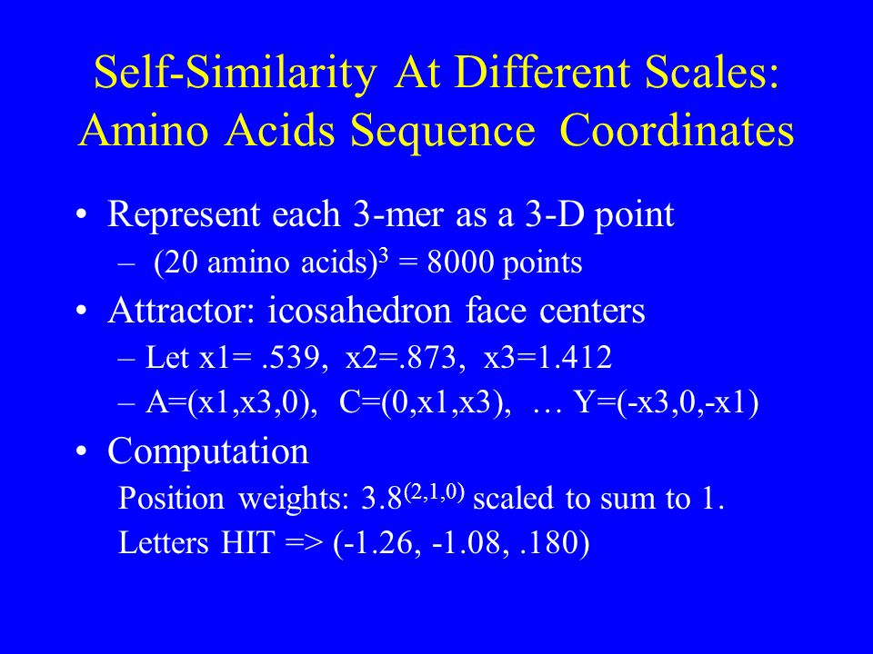 Self-Similarity At Different Scales: Amino Acids Sequence Coordinates Represent each 3-mer as a 3-D point – (20 amino acids) 3 = 8000 points Attractor: icosahedron face centers –Let x1=.539, x2=.873, x3=1.412 –A=(x1,x3,0), C=(0,x1,x3), … Y=(-x3,0,-x1) Computation Position weights: 3.8 (2,1,0) scaled to sum to 1.