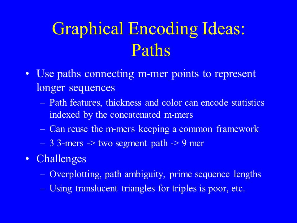 Graphical Encoding Ideas: Paths Use paths connecting m-mer points to represent longer sequences –Path features, thickness and color can encode statistics indexed by the concatenated m-mers –Can reuse the m-mers keeping a common framework –3 3-mers -> two segment path -> 9 mer Challenges –Overplotting, path ambiguity, prime sequence lengths –Using translucent triangles for triples is poor, etc.
