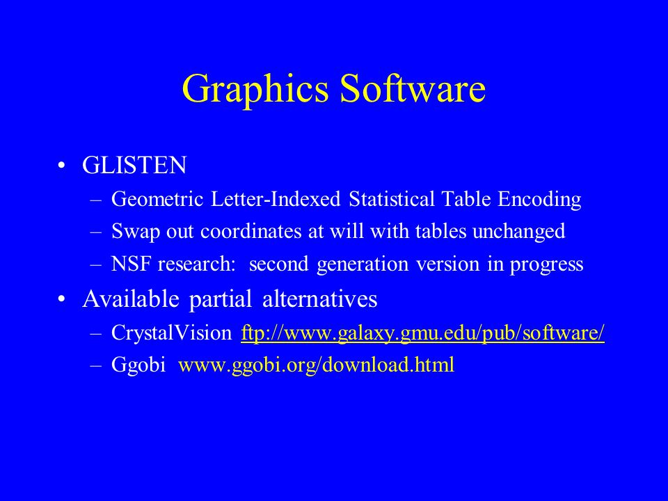 Graphics Software GLISTEN –Geometric Letter-Indexed Statistical Table Encoding –Swap out coordinates at will with tables unchanged –NSF research: second generation version in progress Available partial alternatives –CrystalVision ftp://www.galaxy.gmu.edu/pub/software/ftp://www.galaxy.gmu.edu/pub/software/ –Ggobi www.ggobi.org/download.html