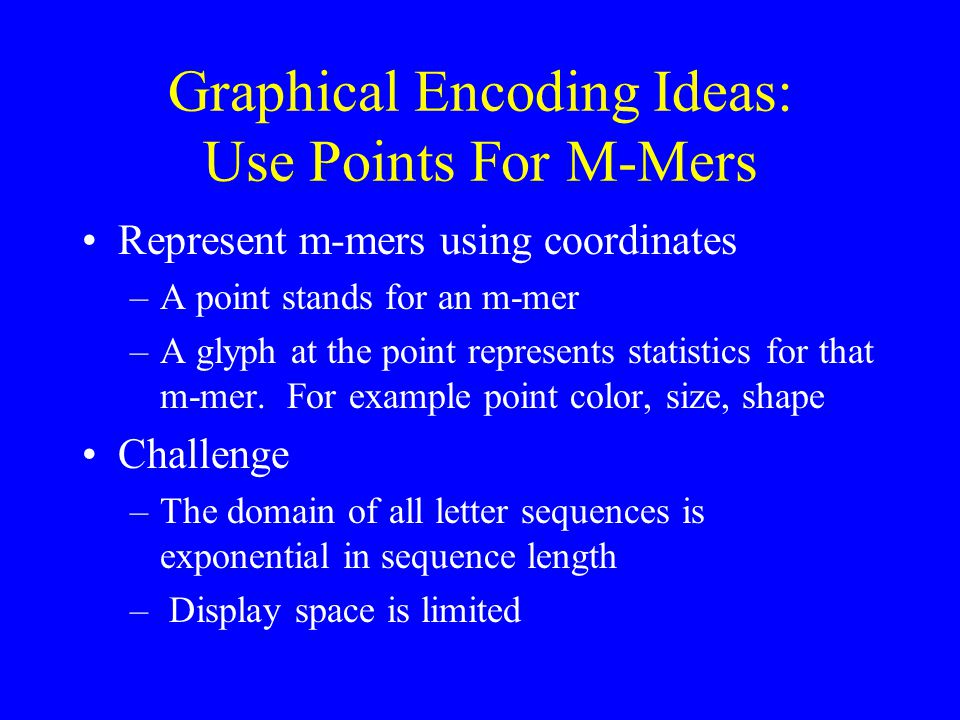 Graphical Encoding Ideas: Use Points For M-Mers Represent m-mers using coordinates –A point stands for an m-mer –A glyph at the point represents statistics for that m-mer.