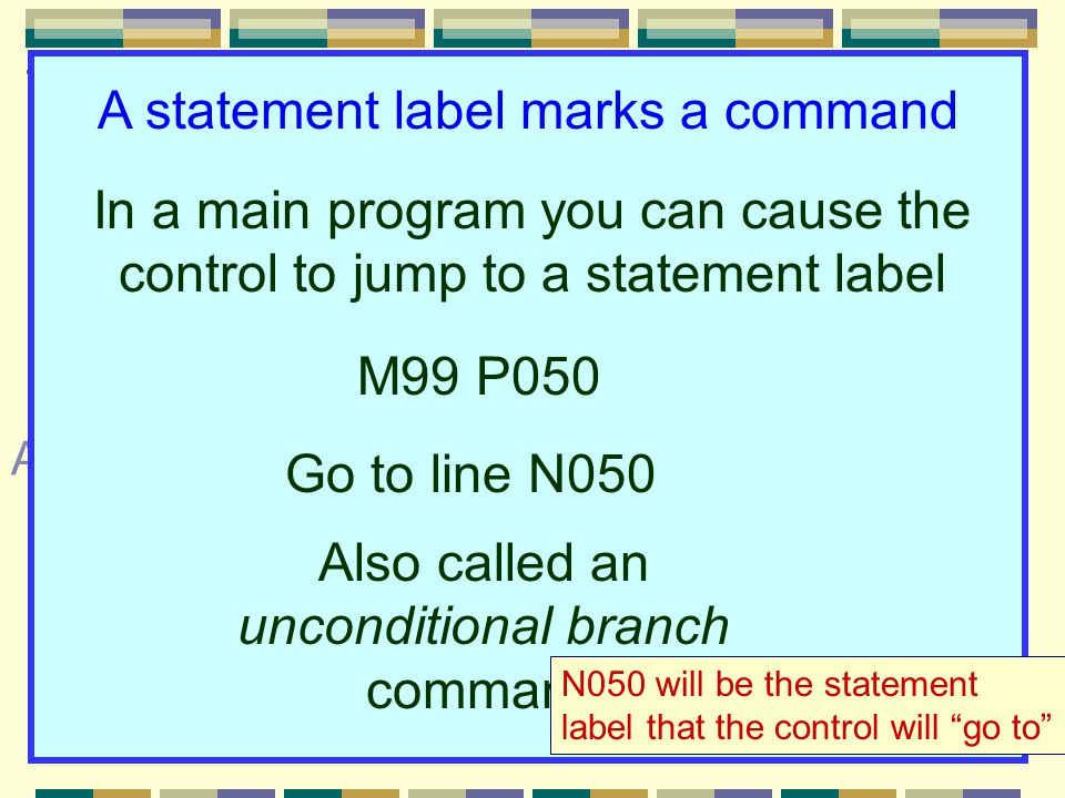 Commonly taught in basic CNC courses: Techniques with sequence numbers 3N words are sequence numbers 3Not needed but beginners use them 3Use logical order (N5, N10, N15, etc.) áEliminating áSpecial restart blocks áAs statement labels Applications not always taught in basic courses: A statement label marks a command In a main program you can cause the control to jump to a statement label M99 P050 Go to line N050 Also called an unconditional branch command N050 will be the statement label that the control will go to