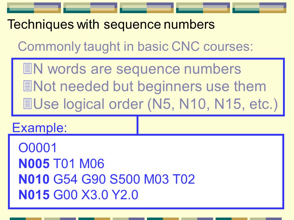 Commonly taught in basic CNC courses: Techniques with sequence numbers 3N words are sequence numbers 3Not needed but beginners use them 3Use logical order (N5, N10, N15, etc.) O0001 N005 T01 M06 N010 G54 G90 S500 M03 T02 N015 G00 X3.0 Y2.0 Example: