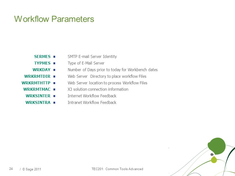 / © Sage 2011 Workflow Parameters TEC201: Common Tools Advanced 24 SERMES TYPMES WRKDAY WRKRMTDIR WRKRMTHTTP WRKRMTMAC WRKSINTER WRKSINTRA SMTP E-mail Server Identity Type of E-Mail Server Number of Days prior to today for Workbench dates Web Server Directory to place workflow Files Web Server location to process Workflow Files X3 solution connection information Internet Workflow Feedback Intranet Workflow Feedback