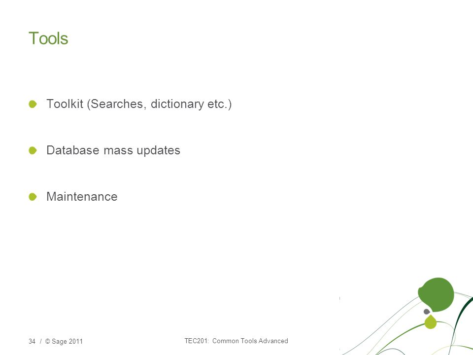 / © Sage 2011 Tools Toolkit (Searches, dictionary etc.) Database mass updates Maintenance TEC201: Common Tools Advanced 34