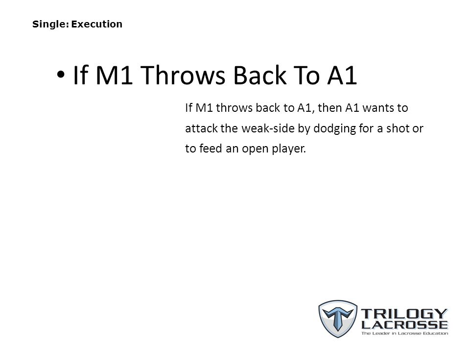 Single: Execution If M1 throws back to A1, then A1 wants to attack the weak-side by dodging for a shot or to feed an open player.