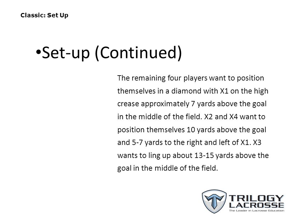 Classic: Set Up The remaining four players want to position themselves in a diamond with X1 on the high crease approximately 7 yards above the goal in the middle of the field.