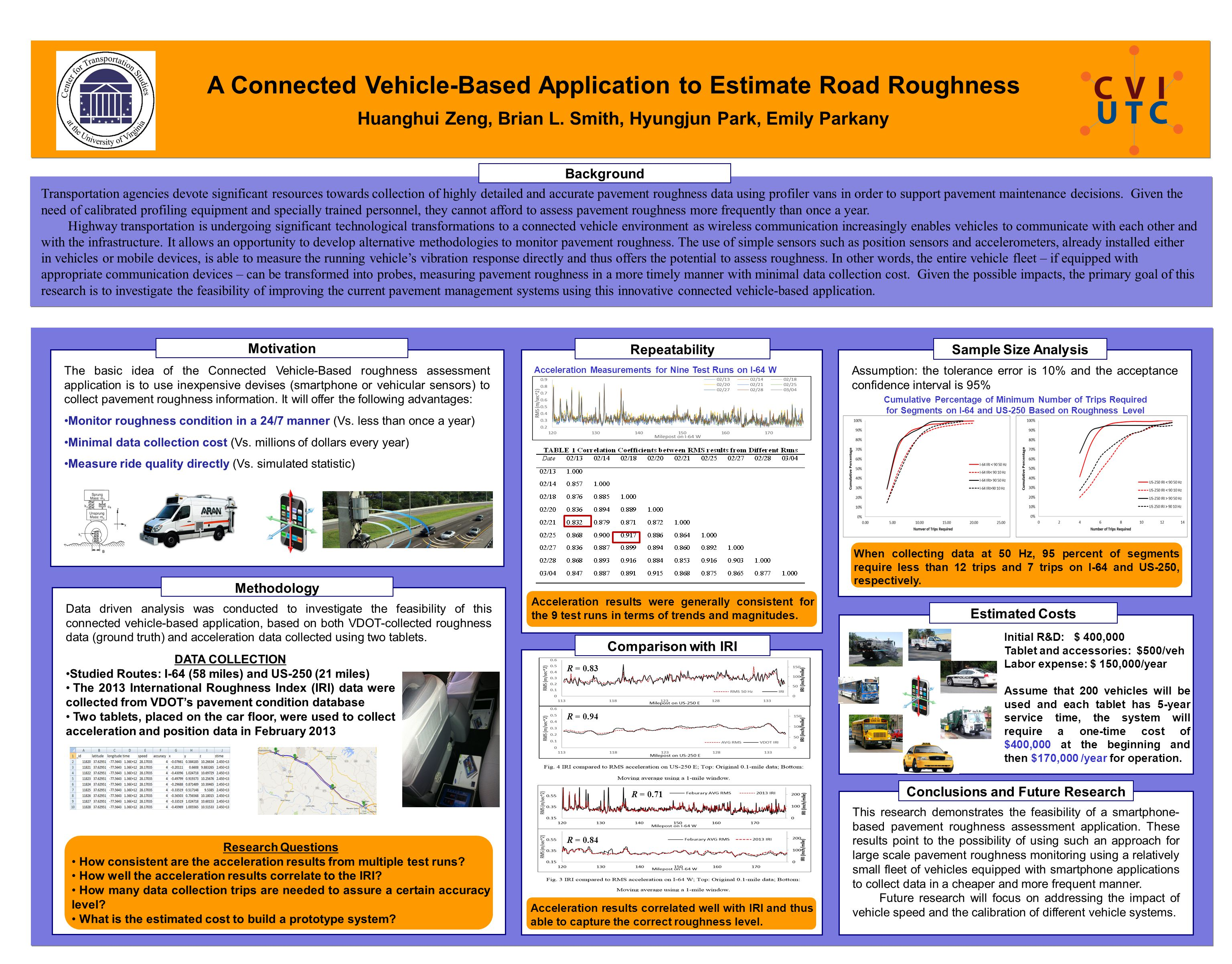 A Connected Vehicle-Based Application to Estimate Road Roughness Transportation agencies devote significant resources towards collection of highly det