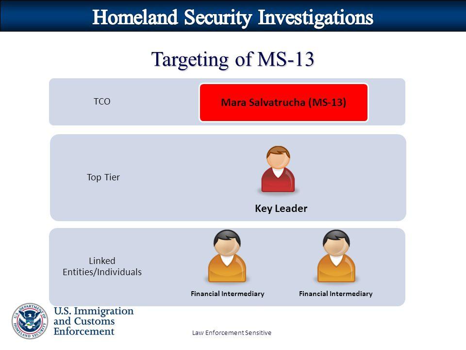 Law Enforcement Sensitive Targeting of MS-13 TCO Top Tier Linked Entities/Individuals Mara Salvatrucha (MS-13) Key Leader Financial Intermediary