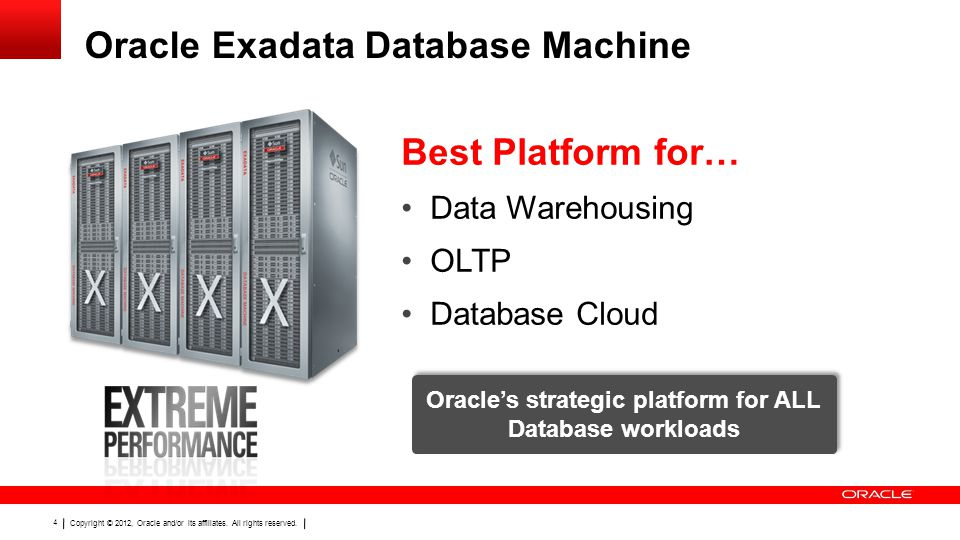 Copyright © 2012, Oracle and/or its affiliates. All rights reserved. 4 Oracle Exadata Database Machine Best Platform for… Data Warehousing OLTP Databa