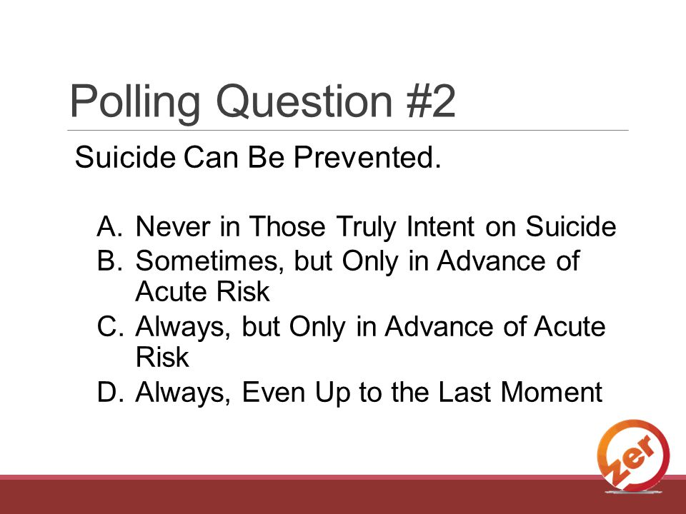 Polling Question #2 Suicide Can Be Prevented.