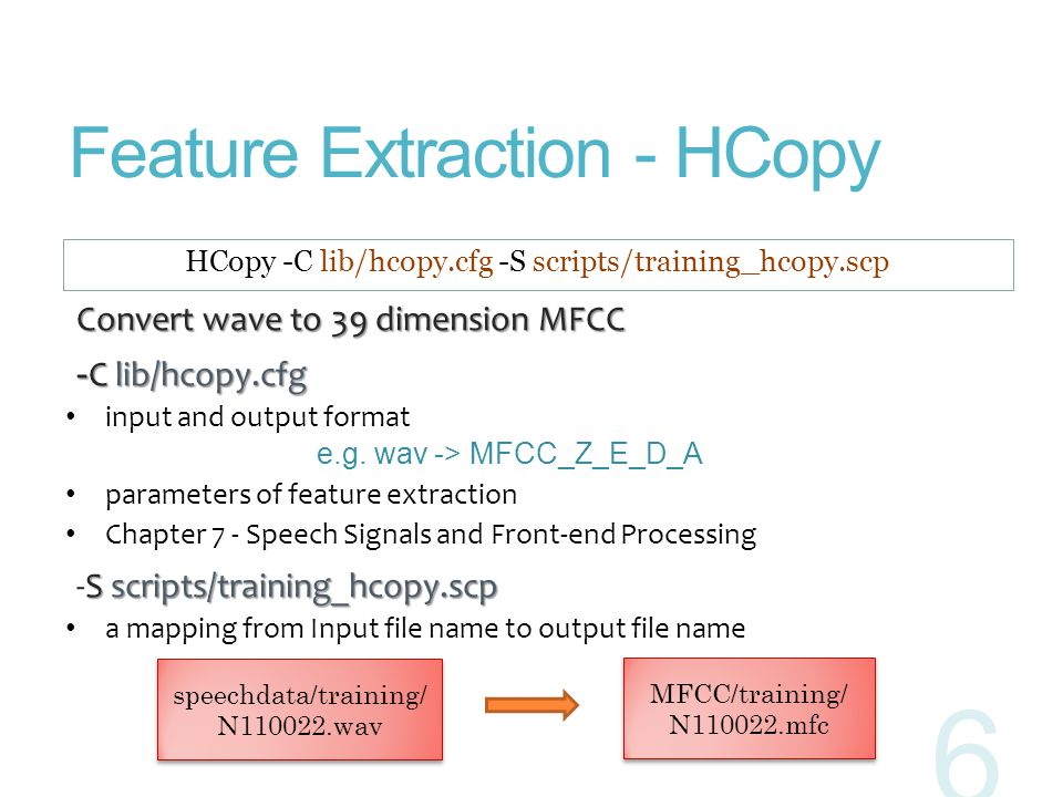 Feature Extraction - HCopy Convert wave to 39 dimension MFCC Convert wave to 39 dimension MFCC - C lib/hcopy.cfg - C lib/hcopy.cfg input and output fo