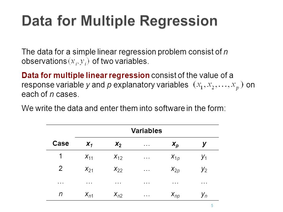 Data for Multiple Regression The data for a simple linear regression problem consist of n observations of two variables.