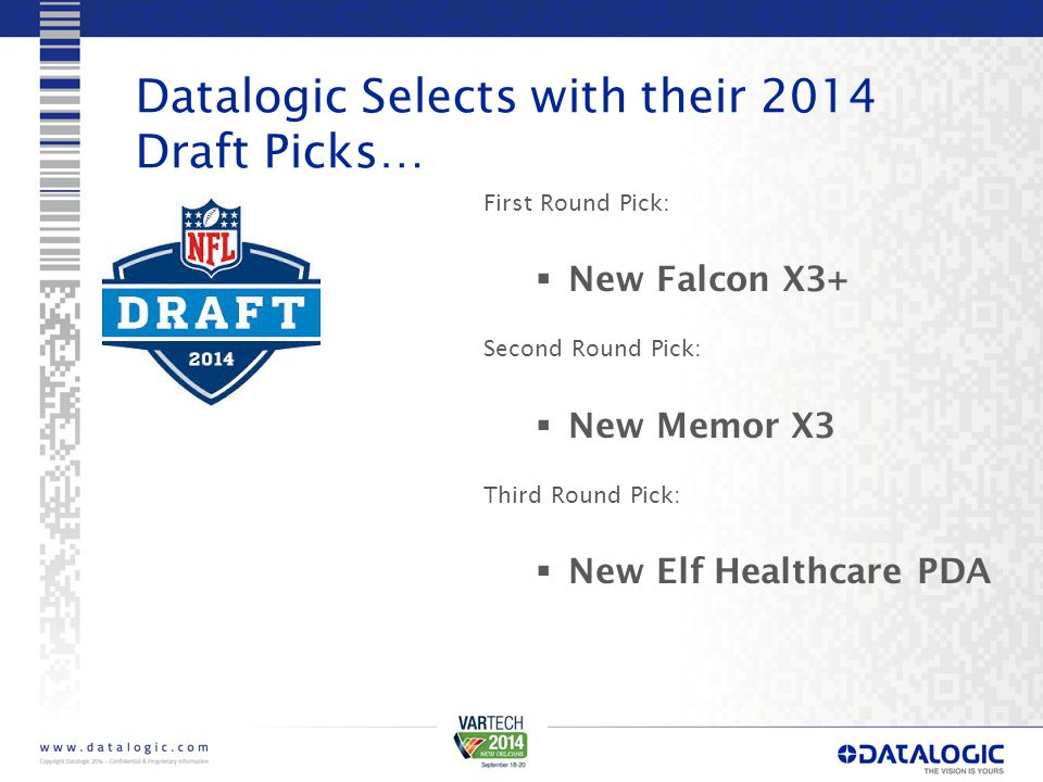 Datalogic Selects with their 2014 Draft Picks… First Round Pick:  New Falcon X3+ Second Round Pick:  New Memor X3 Third Round Pick:  New Elf Health