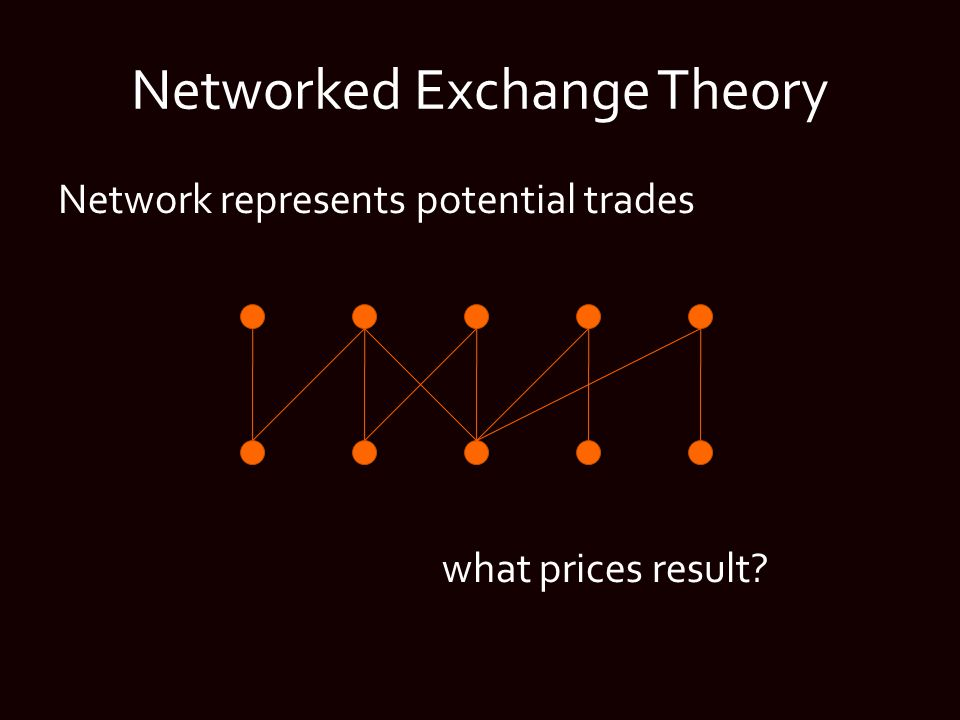 Networked Exchange Theory Network represents potential trades what prices result