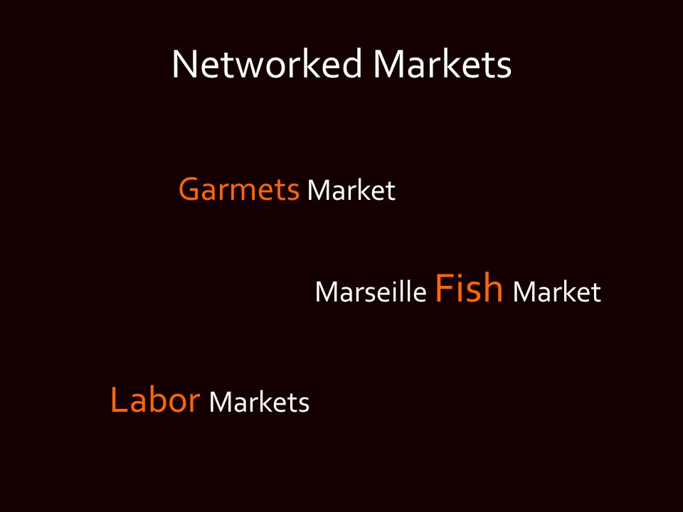 Networked Markets Garmets Market Marseille Fish Market Labor Markets