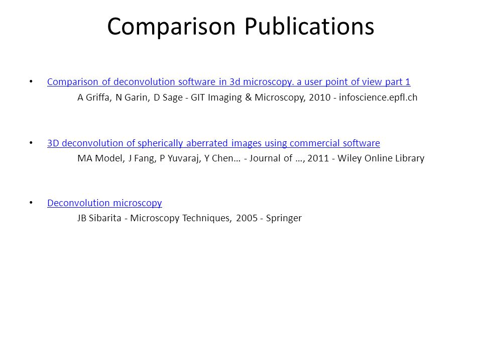Comparison Publications Comparison of deconvolution software in 3d microscopy.