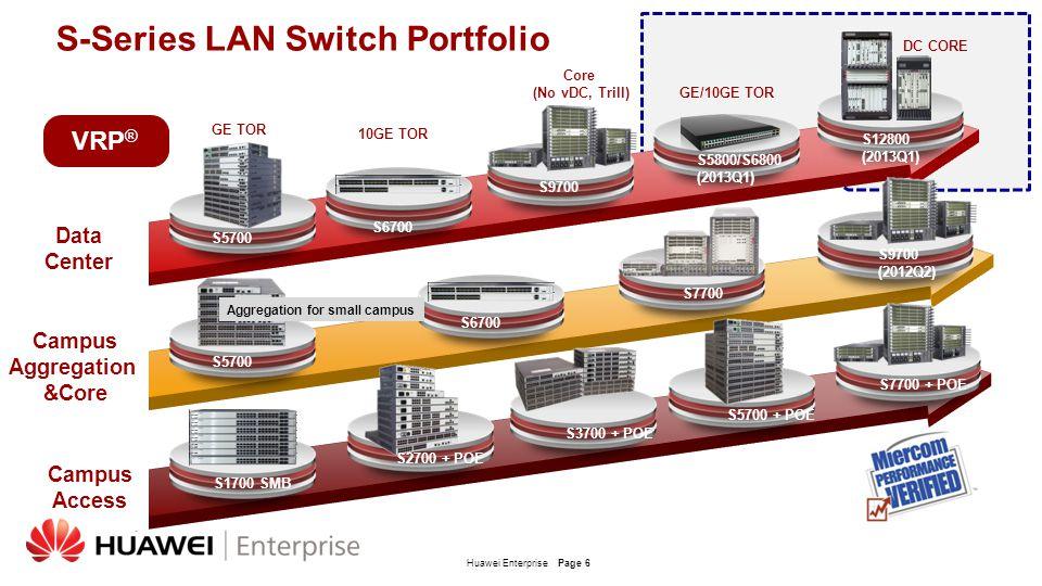 Huawei EnterprisePage 6 S5700 S2700 + POE S3700 + POE S5700 + POE S5700 S6700 S9700 S1700 SMB S-Series LAN Switch Portfolio Campus Aggregation &Core D