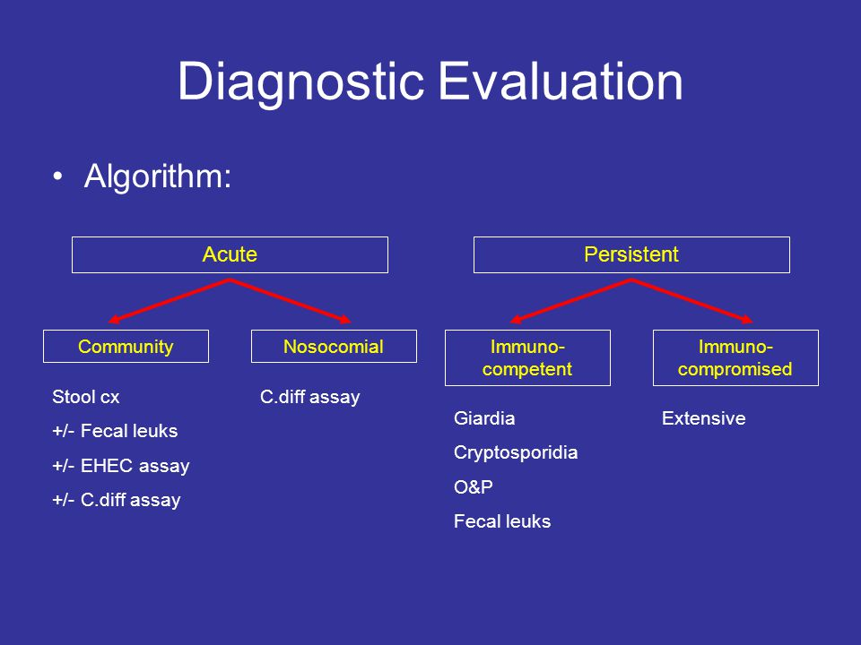 Diagnostic Evaluation Algorithm: AcutePersistent CommunityNosocomialImmuno- competent Immuno- compromised Stool cx +/- Fecal leuks +/- EHEC assay +/- C.diff assay C.diff assay Giardia Cryptosporidia O&P Fecal leuks Extensive