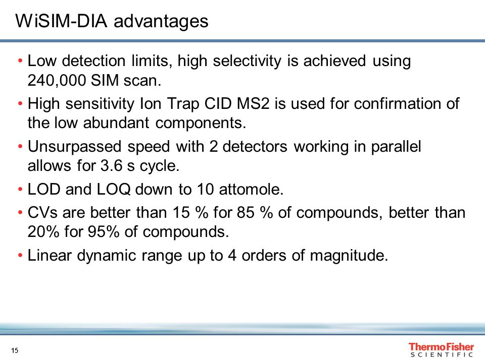 15 WiSIM-DIA advantages Low detection limits, high selectivity is achieved using 240,000 SIM scan.