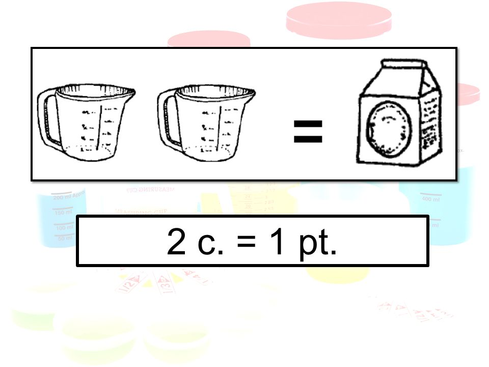 How many c.in more than one pt.. Multiply by 2 (or use repeated addition).
