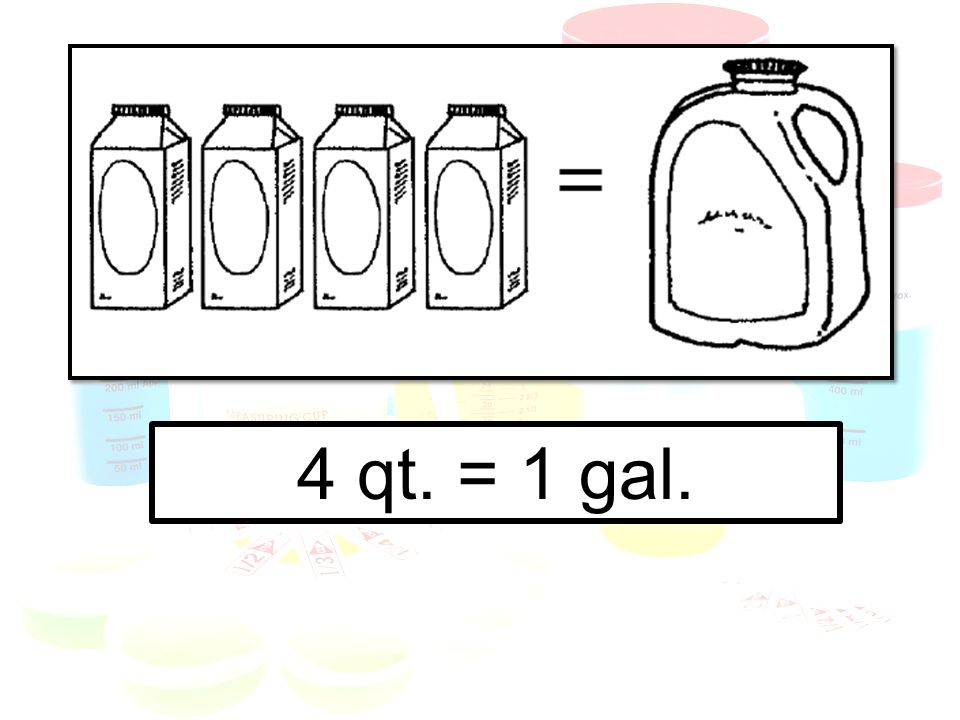 How many qt.in more than one gal.. Multiply by 4 (or use repeated addition).