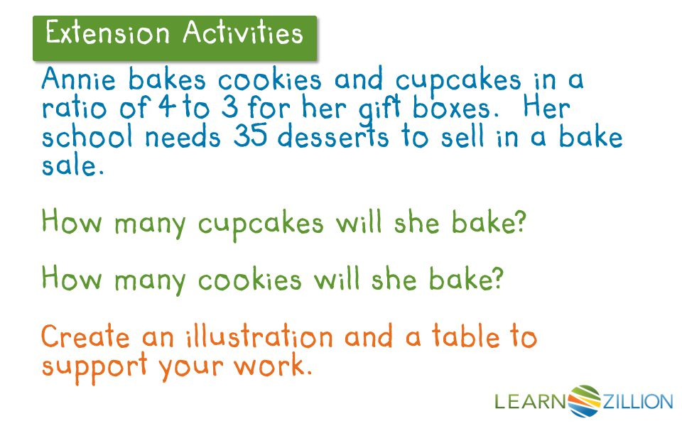 Extension Activities Annie bakes cookies and cupcakes in a ratio of 4 to 3 for her gift boxes.