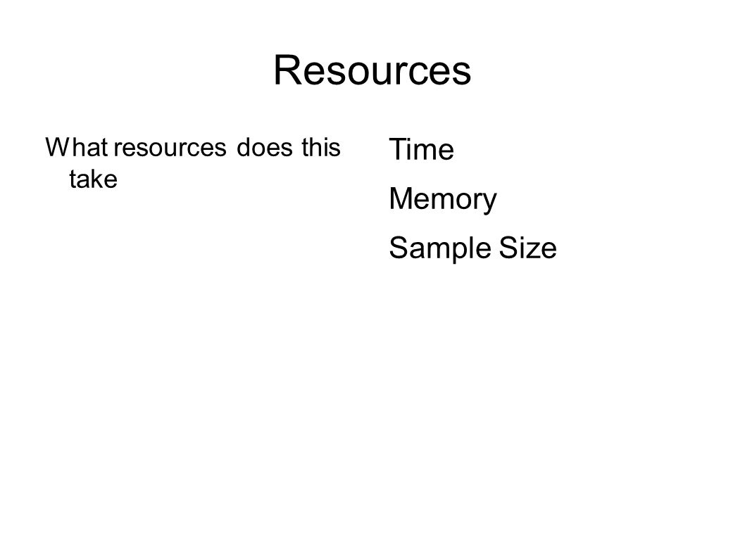 Resources What resources does this take Time Reading several times Memory Sample Size