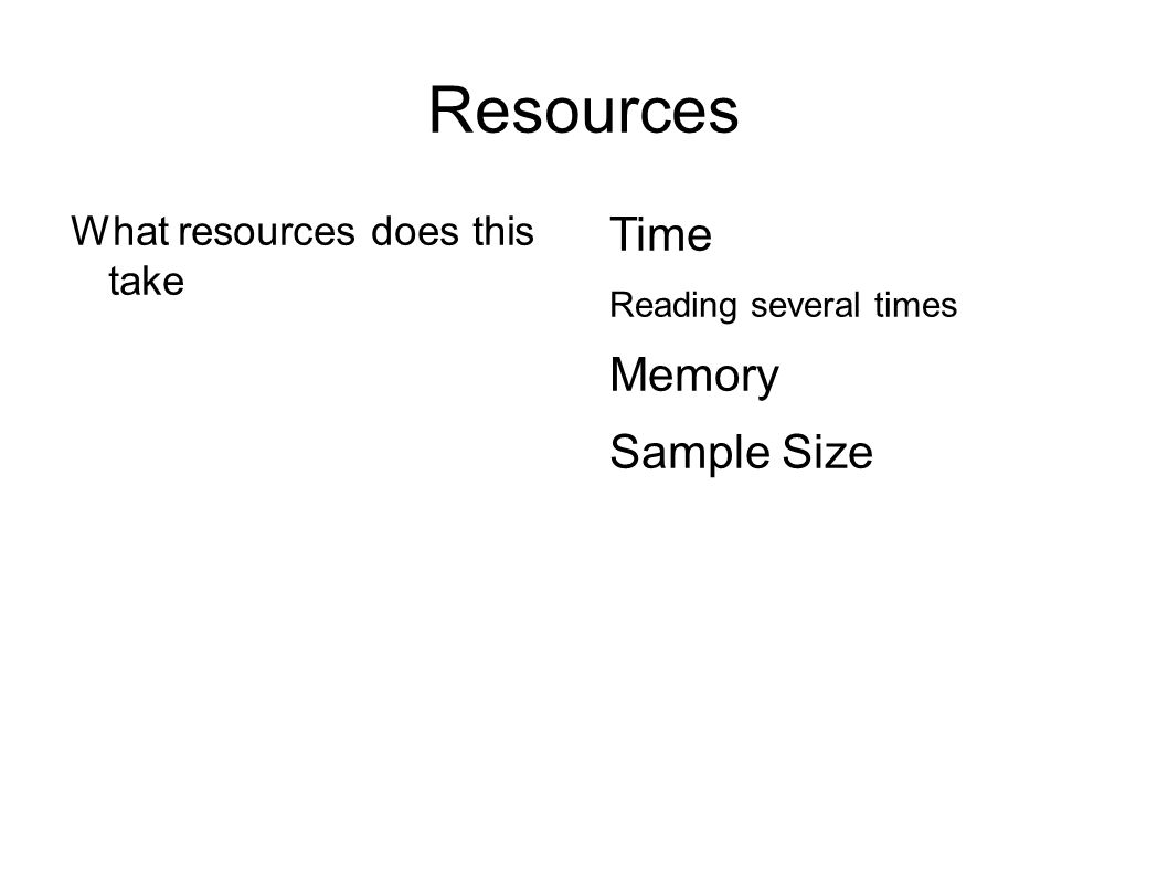 Resources What resources does this take Time Memory Storing all examples Sample Size