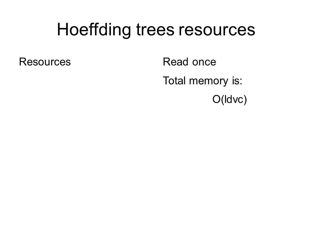Hoeffding trees resources Resources Read once Total memory is: O(ldvc) Where: l: number of leaves d: number of attributes v: max no.