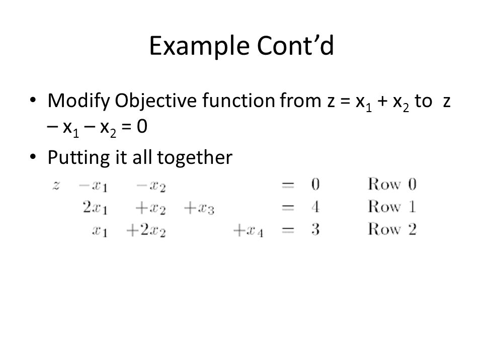Example Cont'd Modify Objective function from z = x 1 + x 2 to z – x 1 – x 2 = 0 Putting it all together