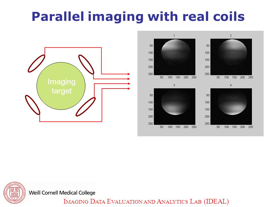 I MAGING D ATA E VALUATION AND A NALYTICS L AB (IDEAL) 5 5 Parallel imaging with real coils Imaging target