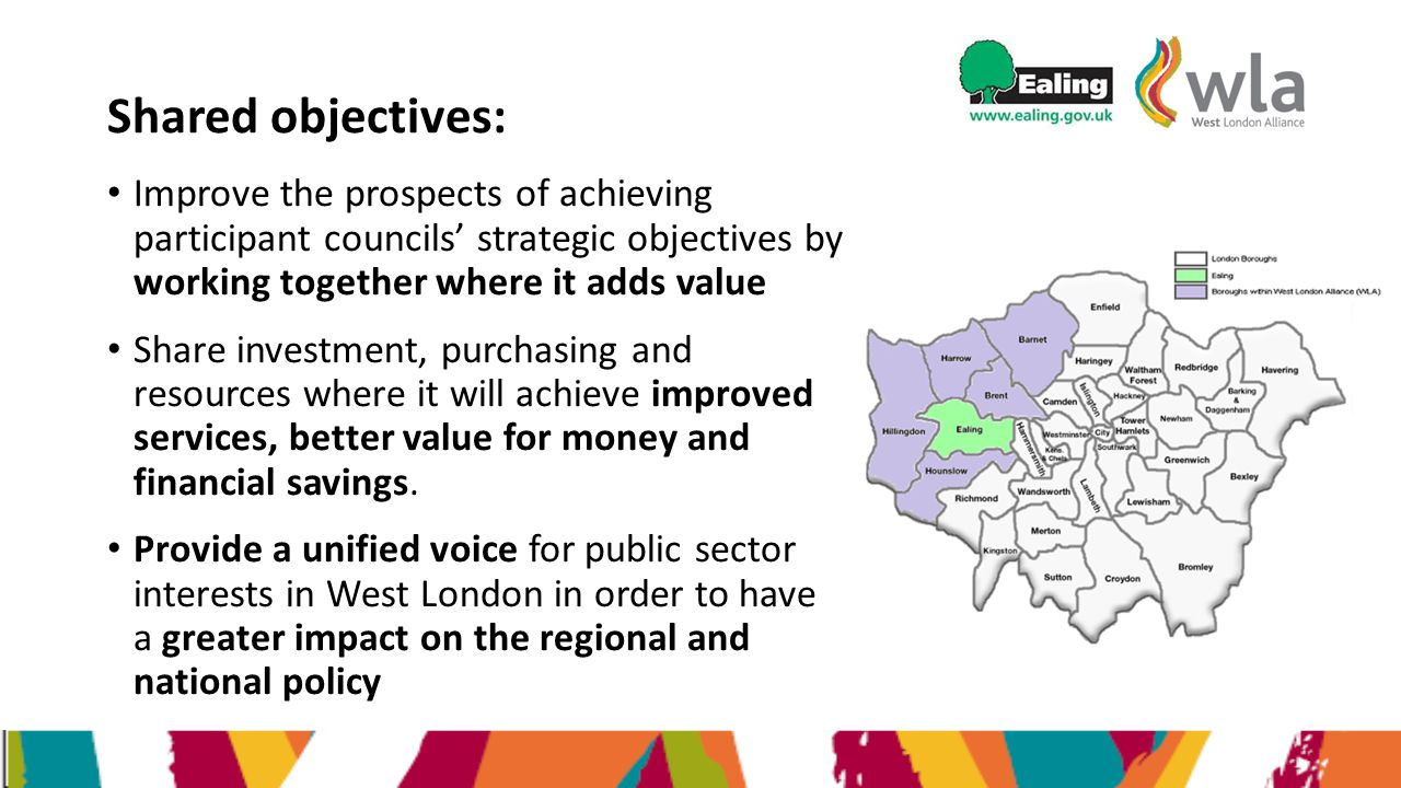 Shared objectives: Improve the prospects of achieving participant councils' strategic objectives by working together where it adds value Share investm
