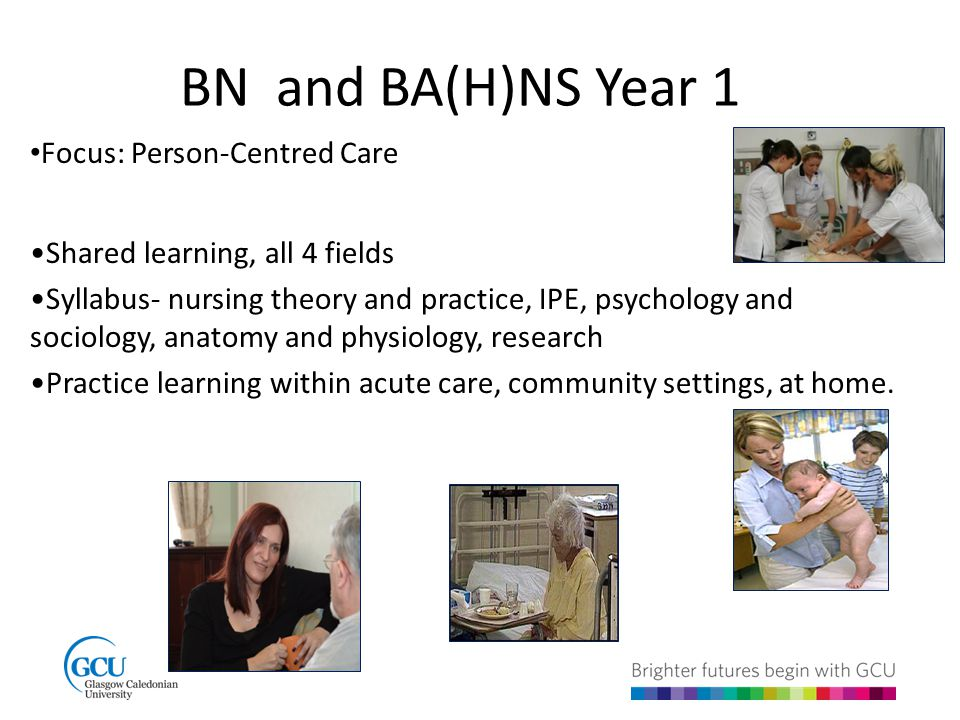 BN and BA(H)NS Year 1 Focus: Person-Centred Care Shared learning, all 4 fields Syllabus- nursing theory and practice, IPE, psychology and sociology, anatomy and physiology, research Practice learning within acute care, community settings, at home.