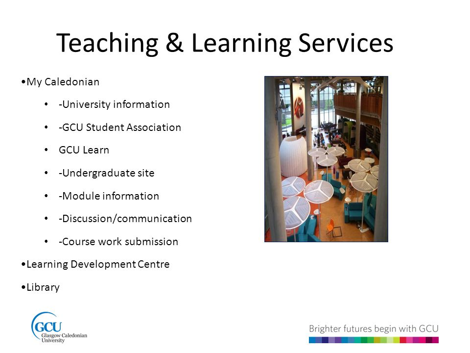 Teaching & Learning Services My Caledonian -University information -GCU Student Association GCU Learn -Undergraduate site -Module information -Discussion/communication -Course work submission Learning Development Centre Library
