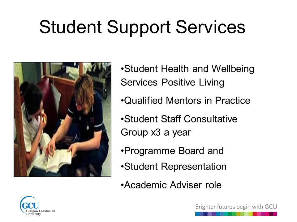 Student Support Services Student Health and Wellbeing Services Positive Living Qualified Mentors in Practice Student Staff Consultative Group x3 a year Programme Board and Student Representation Academic Adviser role