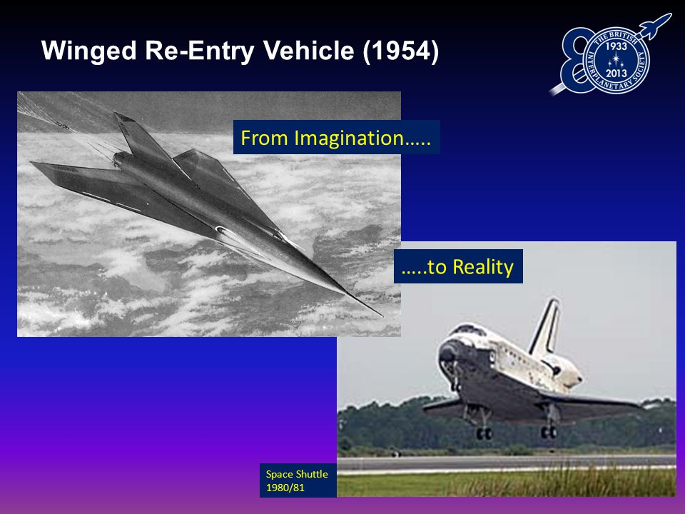 Winged Re-Entry Vehicle (1954) From Imagination….. …..to Reality Space Shuttle 1980/81