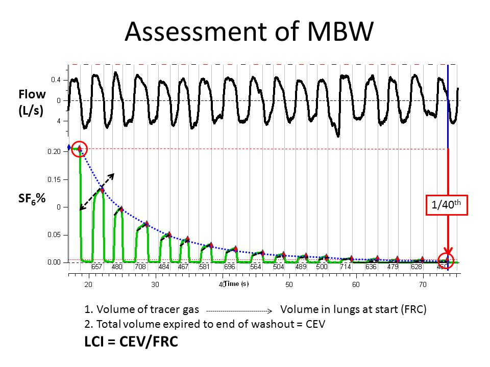 Assessment of MBW 1. Volume of tracer gas Volume in lungs at start (FRC) 2.