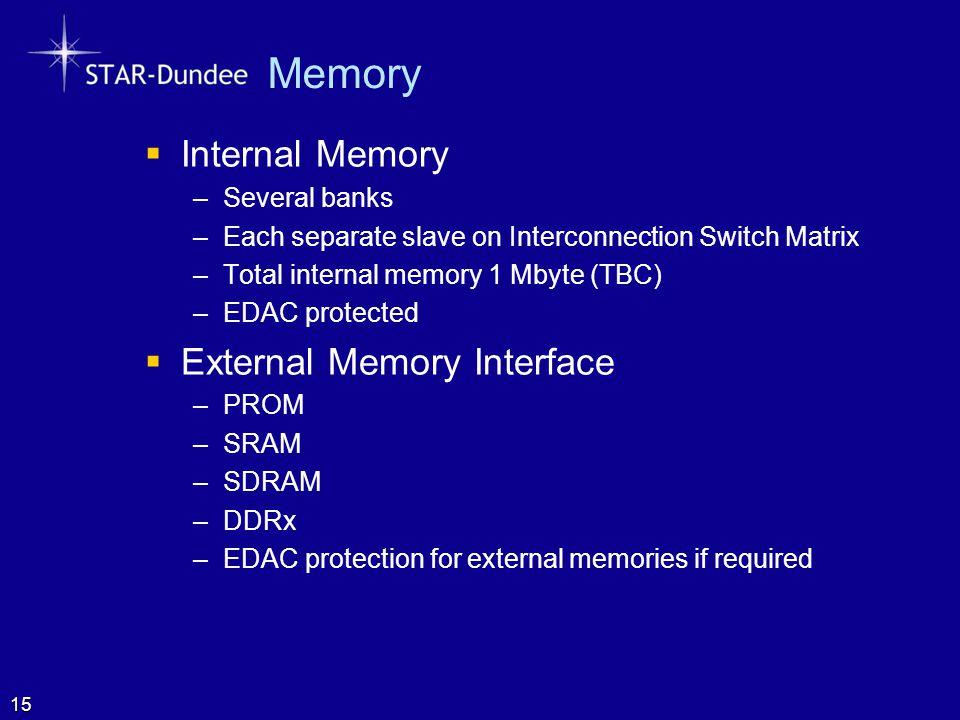 Memory  Internal Memory –Several banks –Each separate slave on Interconnection Switch Matrix –Total internal memory 1 Mbyte (TBC) –EDAC protected  E