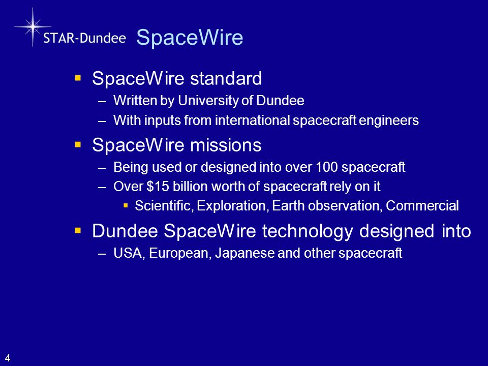 SpaceWire  SpaceWire standard –Written by University of Dundee –With inputs from international spacecraft engineers  SpaceWire missions –Being used